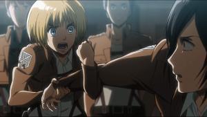 Armin stopping Mikasa