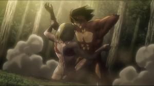 Erin Titan and female titan fighting