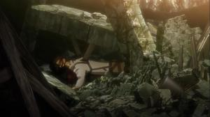 Erin under the debris