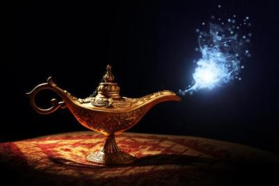 magic-lamp-from-the-story-of-aladdin-with-genie-appearing-in-blue-smoke-concept-for-wishing-luck-a_u-l-q103irw0